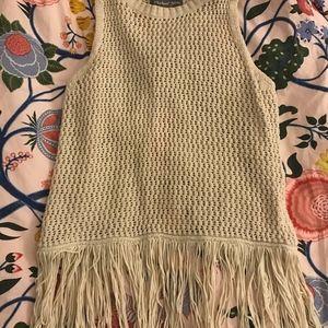 Crochet split back fringe tank by Michael Stars
